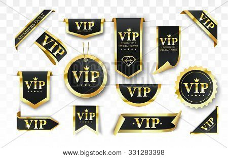 poster of Vip Label, Badge Or Tag. Vector Black Banner With Gold Vip Text. Vector Illustration