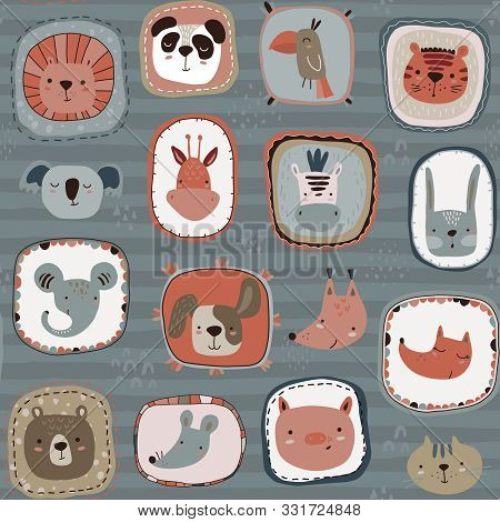 poster of Vector Seamless Pattern With Cute Animal Faces In Frames. Simple Scandinavian Style.