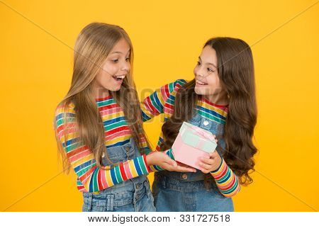poster of Happy Birthday. Small Child Give Present Box To Birthday Girl. Birthday Present. Little Children Cel