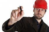 Planner In A Red Helmet