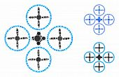 Quadcopter Mosaic Of Circle Elements In Different Sizes And Shades, Based On Quadcopter Icon. Vector poster