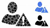 Warning Mosaic Of Small Circles In Different Sizes And Color Tinges, Based On Warning Icon. Vector S poster