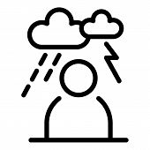 Storm Depression Man Icon. Outline Storm Depression Man Vector Icon For Web Design Isolated On White poster