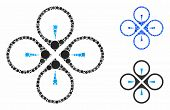 Fly Drone Mosaic Of Small Circles In Different Sizes And Color Tinges, Based On Fly Drone Icon. Vect poster