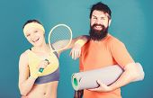 Healthy Lifestyle Concept. Man And Woman Couple In Love With Yoga Mat And Sport Equipment. Fitness E poster