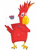 Cartoon Character Funny Parrot Isolated on White Background. Look Out. Vector EPS 10.