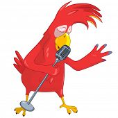 Cartoon Character Funny Parrot Singing Isolated on White Background. Vector EPS 10.