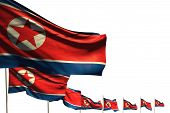 Wonderful Labor Day Flag 3d Illustration  - Many North Korea Flags Placed Diagonal Isolated On White poster