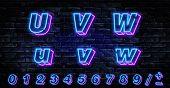 3d Neon Letters U-w. Neon Blue Font English. City Blue Font. Neon City Color Blue Font. English Alph poster