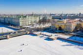 Winter Palace On Palace Square In St. Petersburg And The Admiralty In The Distance Aerial View poster