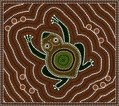 Illustration Based On Aboriginal Style Of Dot Painting Depicting Toad