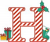 Capital Letter H With Red And White Candy Cane Pattern And Christmas Design Elements Isolated On Whi poster