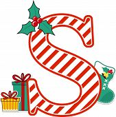 Capital Letter S With Red And White Candy Cane Pattern And Christmas Design Elements Isolated On Whi poster