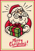 Merry Christmas! Retro Vintage Style Santa Claus Character Holding Christmas Present Gift -vector Re poster