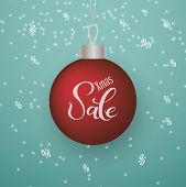 Christmas 3d Glossy Ball Decoration With Text Christmas Sale And Snow. New Year And Christmas Poster poster