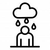 Man Under Rain Icon. Outline Man Under Rain Vector Icon For Web Design Isolated On White Background poster