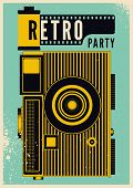 Retro Party Typographical Vintage Grunge Style Poster With Camera And Camera Roll. Retro Vector Illu poster