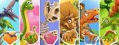 Dinosaurs Cartoon Character. Brachiosaurus, Pterodactyl, Tyrannosaurus Rex, Dinosaur Skeleton, Trice poster