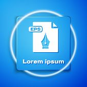 White Eps File Document. Download Eps Button Icon Isolated On Blue Background. Eps File Symbol. Blue poster