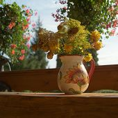 Vase With Yellow Flowers In Veranda, Outdoor Close-up poster