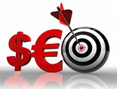 Seo Red Word With Dollar Euro And Target