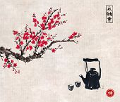 Traditional Asian Tea Ceremony. Teapot And Cups Under Sakura Tree. Traditional Japanese Ink Wash Pai poster