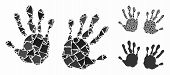 Hand Prints Composition Of Abrupt Items In Variable Sizes And Shades, Based On Hand Prints Icon. Vec poster