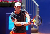 BARCELONA - APRIL, 24: British tennis player Andy Murray in action during his match against Sergiy S