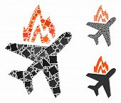 Airplane Fire Mosaic Of Unequal Parts In Variable Sizes And Color Tinges, Based On Airplane Fire Ico poster
