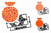Capital Mosaic Of Uneven Parts In Different Sizes And Shades, Based On Capital Icon. Vector Rough Pa poster