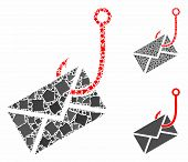 Envelope Phishing Hook Mosaic Of Uneven Items In Different Sizes And Color Tinges, Based On Envelope poster