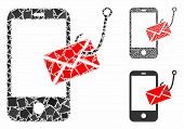 Smartphone Message Phishing Composition Of Ragged Pieces In Different Sizes And Color Tinges, Based  poster