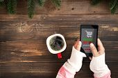 Hand Of Female Using Mobile Phone To Online Shopping. Christmas And New Year Holiday Online Shopping poster