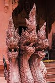 Dragons, Scorpionfish, Wat Sila Ngu With The Red Temple Wat Ratchathammaram On Koh Samui In Thailand poster