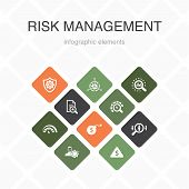 Risk Management Infographic 10 Option Color Design. Control, Identify, Level Of Risk, Analyze Simple poster
