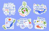 Ecology Protecting. Save The Environment, Zero Waste, Save The Ocean And Recycle Concept Vector Illu poster