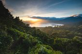 Beautiful Sunset over Lake Buyan Bali Indonesia. Island Coastal Scenery Nature Landscape. Amazing Vi poster