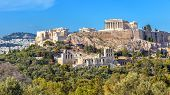 Acropolis Of Athens In Summer, Greece. View Of Famous Parthenon And Odeon Of Herodes. Urban Landscap poster