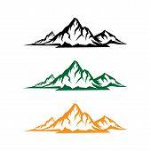 Mountain Tourism And Rock Climbing Icon Set. Mountain Top Black Silhouette With Snowy Peak, Mountain poster