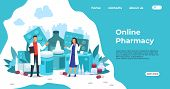 Pharmacy Landing Page. Medical Support And Drugs Addiction Concept, Blisters With Pills And Capsules poster