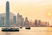 Star Ferry At Victoria Harbor In Hk At Sundown poster