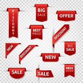 Red Ribbon Labels. Big Sale, New Offer And Best Price, Discount Silk Scarlet Promotional Event Banne poster