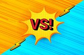 Comic Versus Bright Concept With Yellow Speech Bubble Red Vs Wording Lightnings Orange And Blue Dyna poster