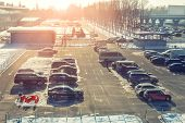 View From Above On Car Parking With Many Vehicles And Free Lots At Bright Early Frosty Cold Winter M poster