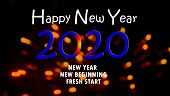 Happy New Year 2020. With Inspirational Motivational Quote - New Year, New Beginning, Fresh Start. N poster
