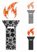 Torch Flame Composition Of Irregular Elements In Various Sizes And Color Tints, Based On Torch Flame poster