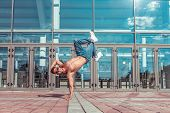 Male Dancer, Press Stand On One Arm, Dancing Breakdance, In Summer In City, Free Space For Text, Hip poster