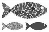 Fish Mosaic Of Inequal Parts In Various Sizes And Color Tones, Based On Fish Icon. Vector Uneven Par poster
