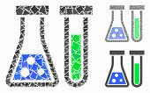 Chemistry Mosaic Of Abrupt Parts In Variable Sizes And Color Tones, Based On Chemistry Icon. Vector  poster