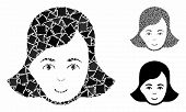 Lady Face Mosaic Of Unequal Items In Different Sizes And Color Tones, Based On Lady Face Icon. Vecto poster